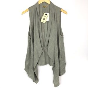 NWT Democracy Olive Green Waterfall Cardigan Vest